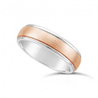 9ct White Gold Gents 6mm Heavy Weight Court Wedding Ring With A 4mm Satin 9ct Rose Gold Centre Onlay